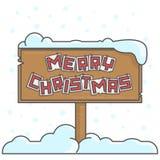 圣诞快乐在雪下的messege板 库存例证