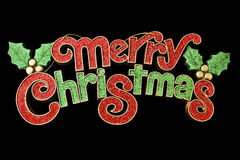 圣诞快乐在黑背景隔绝的墙帷装饰 免版税库存图片