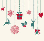圣诞快乐垂悬的装饰元素混合涂料 库存照片