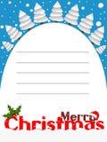 圣诞快乐垂直的卡片多雪的风景 库存图片