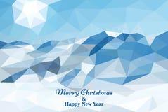 圣诞快乐多角形卡片 低多背景 向量 免版税库存图片