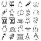 圣诞快乐大集合简单的象 向量例证