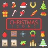 圣诞快乐大集合简单的颜色平的象 库存例证