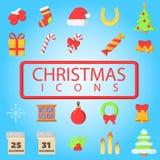 圣诞快乐大集合简单的颜色平的象 向量例证