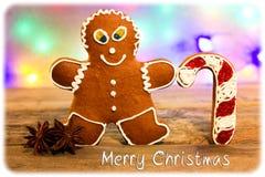 圣诞快乐姜饼人 免版税库存图片