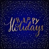 圣诞快乐字法印刷术 手写文本设计与手拉的冬天 库存例证