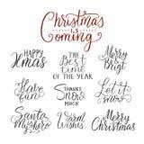 圣诞快乐字法印刷术 手写文本设计 免版税图库摄影
