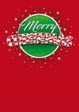 圣诞快乐字法 贺卡红色盖子与线纹理的在背景中 布局大小:21 cm x 29 7 cm A4大小 皇族释放例证
