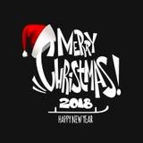 圣诞快乐字法 圣诞节假日印刷术 也corel凹道例证向量 库存图片