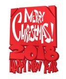 圣诞快乐字法 圣诞节假日印刷术 也corel凹道例证向量 免版税库存图片