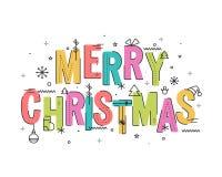 圣诞快乐庆祝的五颜六色的文本 免版税库存照片