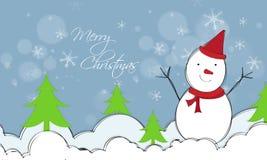 圣诞快乐庆祝的逗人喜爱的雪人 图库摄影