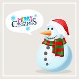 圣诞快乐庆祝的逗人喜爱的雪人 库存例证