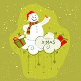 圣诞快乐庆祝的逗人喜爱的雪人 免版税库存图片