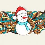 圣诞快乐庆祝的逗人喜爱的雪人 库存照片