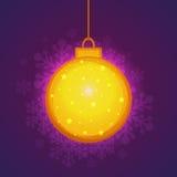 圣诞快乐庆祝的金黄Xmas球 库存图片