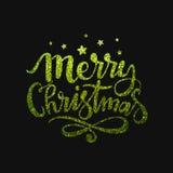 圣诞快乐庆祝的闪烁的文本 库存图片