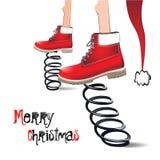 圣诞快乐微笑卡片 免版税库存图片