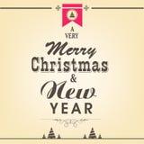 圣诞快乐或新年与时髦的te的庆祝概念 免版税库存图片