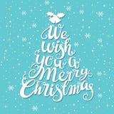 圣诞快乐手写的树形状印刷术 向量例证