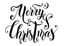 圣诞快乐手写的装饰现代刷子书法与华丽的 免版税库存图片