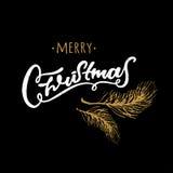 圣诞快乐手拉的设计元素 书面的黑白手 冷杉分支 免版税图库摄影
