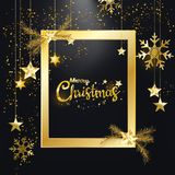 圣诞快乐新年快乐金黄闪烁圣诞节典雅的框架装饰黑色背景 库存例证