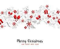 圣诞快乐新年假日装饰卡片 免版税库存图片