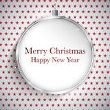 圣诞快乐新年快乐在星无缝的帕特的球银 免版税库存照片