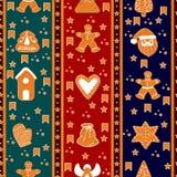 圣诞快乐无缝的垂直的边界样式 姜饼 愉快的寒假海报 新年度 圣诞节假日横幅 皇族释放例证