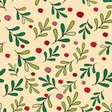 圣诞快乐无缝的样式传染媒介 时髦的圣诞节墙纸用莓果 库存例证