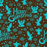 圣诞快乐无缝的模式 免版税库存图片
