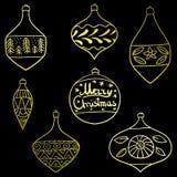 圣诞快乐有样式的树玩具 集合 风格化 新年度 也corel凹道例证向量 免版税图库摄影