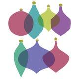 圣诞快乐有样式的树玩具 集合 风格化 新年度 也corel凹道例证向量 库存图片