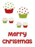 圣诞快乐杯形蛋糕 免版税库存图片