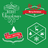 圣诞快乐标签、横幅标记和元素 免版税库存照片
