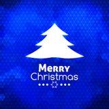 圣诞快乐树卡片摘要蓝色背景 免版税库存照片