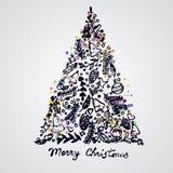 圣诞快乐树装饰元素构成 皇族释放例证