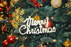 圣诞快乐树装饰 库存照片