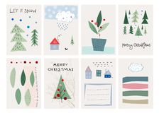 圣诞快乐树雪冬天季节卡集 向量例证