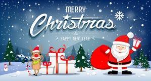 圣诞快乐横幅圣诞老人项目和驯鹿微笑在雪花 向量例证