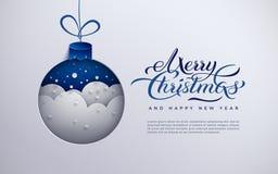 圣诞快乐横幅,假日设计,与雪花的纸Xmas树玩具装饰,雪,发短信给圣诞快乐,蓝色backgroun 库存例证