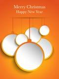 圣诞快乐橙色纸球垂悬 向量例证