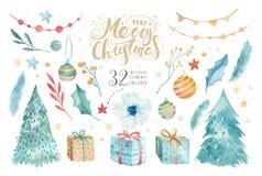 圣诞快乐水彩设置与花卉元素 新年快乐字法海报汇集 冬天花,礼物 皇族释放例证