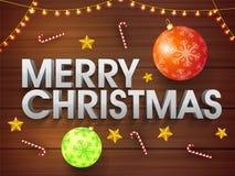 圣诞快乐海报、横幅或者飞行物设计 免版税库存图片