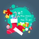 圣诞快乐海报贺卡礼物盒帽子 向量例证
