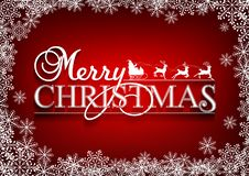 圣诞快乐消息和红色背景与雪花 向量例证