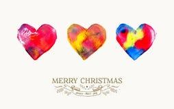 圣诞快乐爱水彩葡萄酒卡片 库存图片