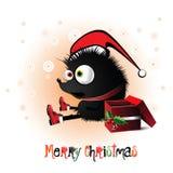 圣诞快乐猬 免版税库存照片