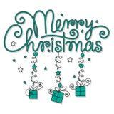 圣诞快乐现有量字法 免版税图库摄影